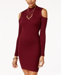 Say What Juniors' Rib Knit Cold Shoulder Bodycon Dress Zinfandel