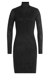 Velvet Jersey Turtleneck Dress Black