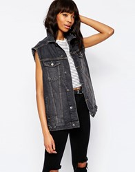 Asos Denim Girlfriend Gilet Jacket In Washed Black Washed Black