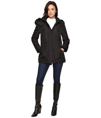 Jessica Simpson Anorak Quilted Bonded W Hood And Faux Fur Black Women's Coat