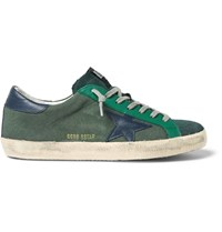 Golden Goose Superstar Distressed Leather Trimmed Canvas Sneakers Green