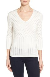Women's Classiques Entier 'Salvia' Placed Stitch V Neck Sweater