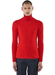 Gucci Ribbed Roll Neck Sweater Red