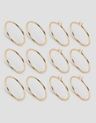 Asos 12 Pack Fine Rings With Faux Pearl Ball Detail Gold
