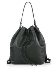 Vince Park Medium Drawstring Leather Backpack Black