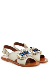 Marni Jeweled Haircalf Sandals White