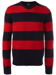 Massimo Piombo Mp Striped Shetland Wool Sweater Red