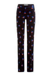 Victoria Victoria Beckham Printed Velvet Cady Flared Trousers Black