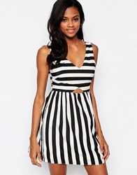 Goldie Mean Gal Striped Dress With Cut Out Detail Multi