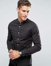 Asos Skinny Shirt In Charcoal With Grandad Collar Charcoal Grey