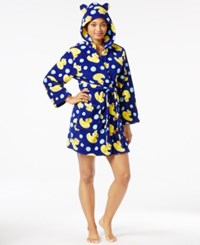 Pj Couture Ears Up Hooded Plush Robe Navy Ducks
