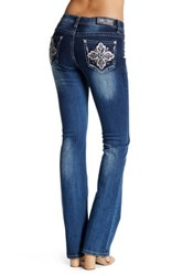 Grace In La Denim Tan Clover Bootcut Jean Blue