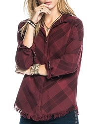 Scotch And Soda Frayed Plaid Shirt Red Plaid