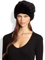 Surell Slouched Dyed Rabbit Fur Hat Black