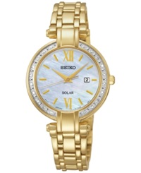 Seiko Women's Solar Diamond Accent Gold Tone Stainless Steel Bracelet Watch 30Mm Sut182