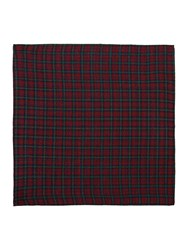 T.M.Lewin Tartan Wool Pocket Square Navy And Red