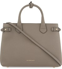 Burberry Banner Medium Checked Trim Leather Tote Thistle Grey