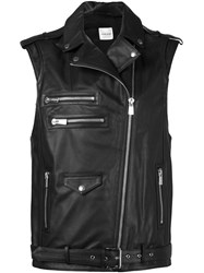 Anine Bing Biker Leather Vest Black