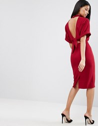 Asos High Neck Open Back Wiggle Dress Rhubarb Red