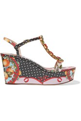 Dolce And Gabbana Embellished Printed Patent Leather Wedge Sandals Multi