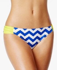Hula Honey Chevron Print Side Tab Bikini Bottom Women's Swimsuit Cobalt White Lemonade