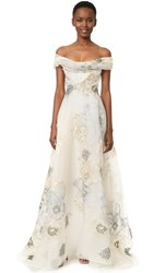 Marchesa Off Shoulder A Line Gown Ivory
