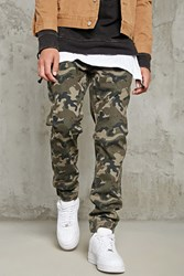 Forever 21 Woven Camo Joggers Olive Brown