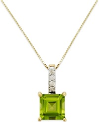 Macy's Peridot 1 3 4 Ct. T.W. And Diamond Accent Pendant Necklace In 14K Gold