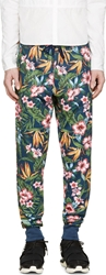 Y 3 Navy Floral Print Lounge Pants