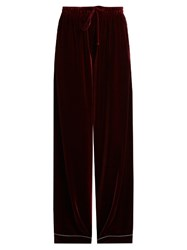 Valentino Wide Leg Velvet Trousers Burgundy Multi