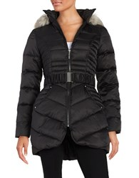 Betsey Johnson Faux Fur Trimmed Hooded Belted Puffer Coat Black