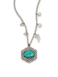 Meira T Opal Diamond And 14K White Gold Hexagon Pendant Necklace White Gold Turquoise