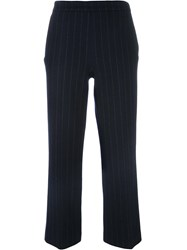 Odeeh Pinstriped Cropped Trousers Blue