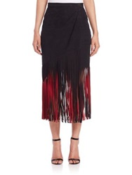 Tamara Mellon Signature Suede Fringe Skirt Black Red Black Poison