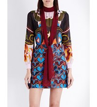 Mary Katrantzou Waltz Silk Georgette Shirt Red Western Cowboy