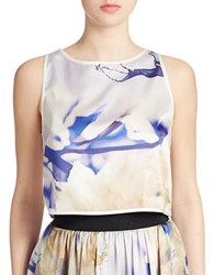 Abs By Allen Schwartz Printed Cropped Tank Top Royal Multi