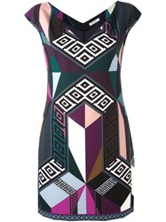 Versace Collection Printed Fitted Dress Pink Purple