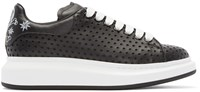 Alexander Mcqueen Black Leather Perforated Star Low Top Sneakers
