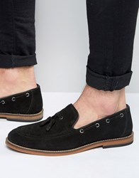 Asos Tassel Loafers In Black Suede With Natural Sole Black