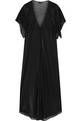 La Perla Embroidered Metallic Modal Blend Robe Black