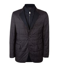 Corneliani Contrast Lapel Quilted Jacket Male Navy