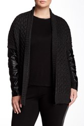 Dex Faux Leather Sleeve Textured Knit Cardigan Plus Size Gray