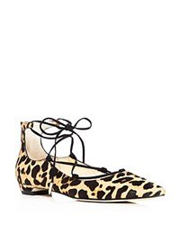 Ivanka Trump Tropicaly Leopard Print Lace Up Pointed Toe Ballet Flats
