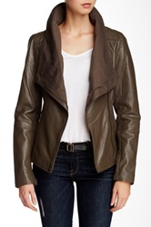 7 For All Mankind Leather Jacket Brown