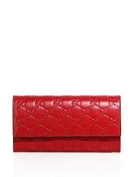 Gucci Linea Gg Leather Flap Wallet Red Pink Black