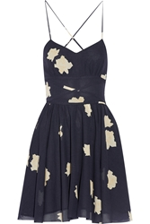 Band Of Outsiders Floral Print Stretch Silk And Cotton Blend Mini Dress