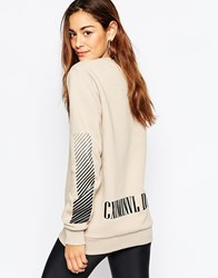 Criminal Damage Oversized Crew Neck Sweatshirt With Back Logo Print Beige