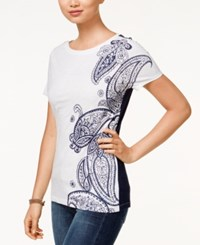 Tommy Hilfiger Amelie Paisley Graphic T Shirt White Navy