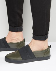 Asos Slip On Trainers In Khaki With Elastic Straps Khaki Green
