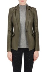Atm Anthony Thomas Melillo Women's Leather Fitted Blazer Grey